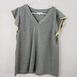 THML V-neck Blouse with Ruffle Sleeves